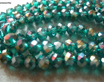 (PF610) Set of 20 glass beads faceted blue green (Peacock) 6mm Crystal effect
