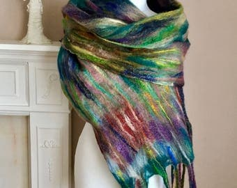 Merino Wool Shawl  Felted Merino Wool Scarf  Wet Felted  Merino Wool Wrap