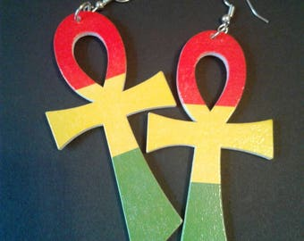 Rasta Red Gold and Green Ankh Earrings