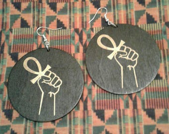 Black Fist Ankh Earrings