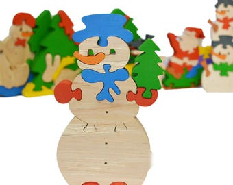 Snowman puzzle  - Learning Toy - Montessori toddler toy - Toddler birthday gift - Wooden toy - Educational toy