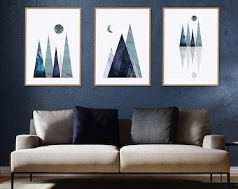 Set of 3, Printable, Print Set, Mountain, Gallery wall, Prints, Wall Art, Home Decor, Navy, Minimalist, Scandinavian Print, Poster, trending