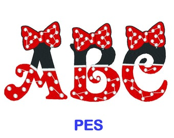 Minnie Mouse Embroidery Font - Disney - PES Format Embroidery Alphabet - Embroidery Letters - Brother - Machine Embroidery Designs Patterns