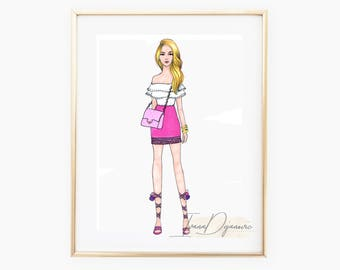 Lea Fashion Poster,Pink Wall Art Print,Pink Mini Skirt Fashion Illustration Print,Pink Dress Sketch,Home Decor