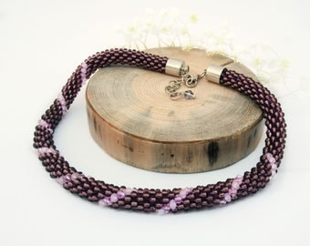 Beadwork rope necklace Bead crochet necklace Seed bead jewelry Violet statement necklace Everyday pretty necklace Elegant necklace for women