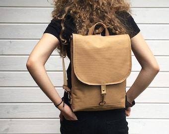 Waterproof Backpack, Solid Vegan Rucksack, Convertible Backpack