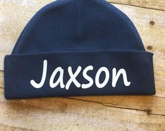 Newborn Baby Boy Hat. Personalized Boy Hat. Baby Boy Beanie. Baby Girl Beanie. Personalized Girl Hat. Newborn Baby Girl Hat