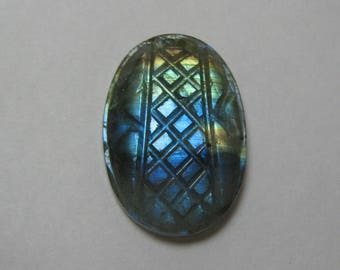 Natural Labradorite Carving Gemstone Oval shape loose semi precious gemstone size 18 x 26 x 7 mm approx ET 417 Labradorite Fl