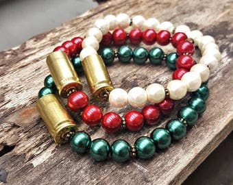 Southern Bullets Christmas Brass Bullet Holiday Bracelets, Bullet Jewelry,