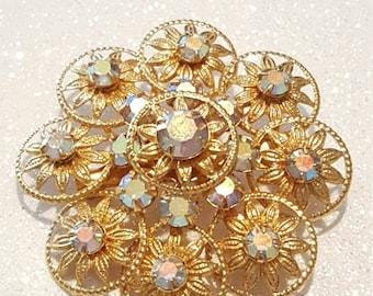 ON SALE : Vintage Goldtone Rhinestone Pin Brooch