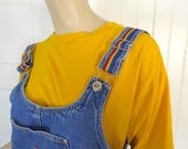 90s Rainbow Stripe Overalls- 1990s Route 66 Denim / Jean Shorts- Medium- Grunge