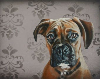 """Boxer painting, Boxer dog, Boxer lovers gift, boxer dog art, original dog painting, dog art, dog painting, 14"""" x 10"""""""