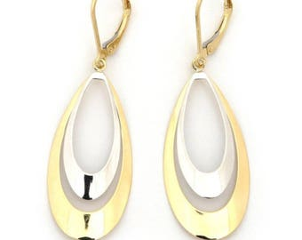 14k Yellow+White Gold Flat Convex Double Tear Drop Graduated Earring