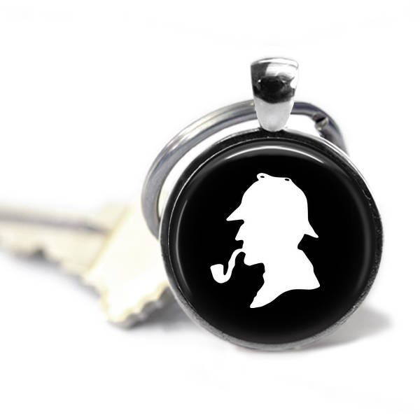 Sherlock Holmes Key Ring, 25mm Silver Keychain, Keyring, Literary Gifts, Book Lover
