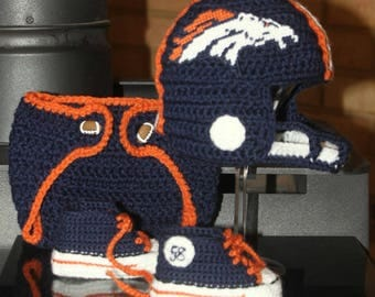 Baby football hat and shoes, Newborn FOOTBALL hat, Baby shoes, Denver BRONCOS Inspired (Handmade by me and not affiliated with the NFL)