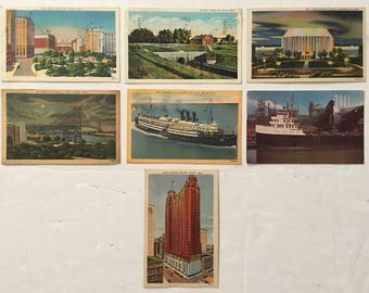 Vintage Post Cards 1930s, 1940s, 1950s Michigan Posted Circulated Mixed Lot of 7 Linen / RPPC (Real Photo) Postcards