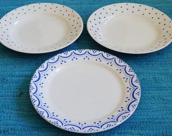 Three antique plates: 2 blue polka dot and 1 beautiful art deco cobalt blue decoration by Nimy in Belgium. Vintage early 1900's. Spritzdekor