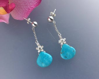Sterling Silver Double Sided 3D CZ Flower and Blue Turquoise Flat Heart Shaped Drop Chain Earrings