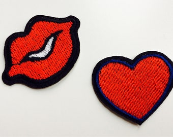 Patches | Patch | Set | Hipster | Trendy | Emo | DIY | Fashion | Sassy | Cute | Lips | Heart | Retro