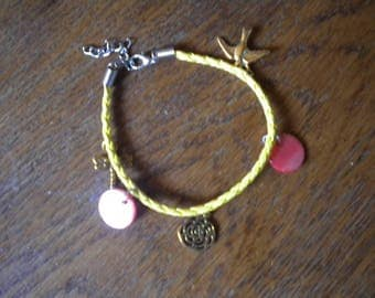 Yellow leather braided bracelet