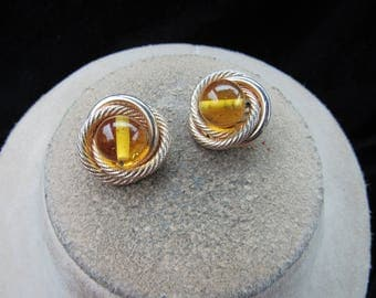 Vintage Pair Of Signed Vogue Yellow Glass Stone Goldtone Clip Earrings