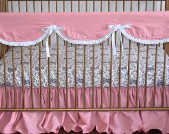2 PIECE SET - linen bedding, pink linen, baby girl bedding, gathered skirt ruffle rail guard, scalloped rail guard
