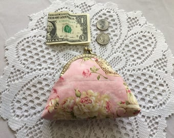 Vintage Print coin purse,  with Bronze Vintage Metal Frame
