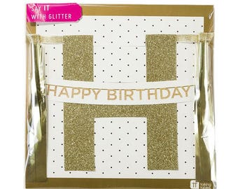 Gold Glitter Happy Birthday Bunting - Gold Happy Birthday Decoration - Happy Birthday Garland - Gold Birthday Banner - Flags - Gold Party