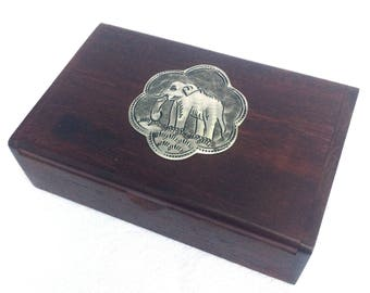 "Wooden Box, Elephant on Lid, Small Wooden Keepsake Box, Wooden Trinket Pot, The Cutest Thing! 4"" x 2.5"" x 1.25"", Immaculate Condition"