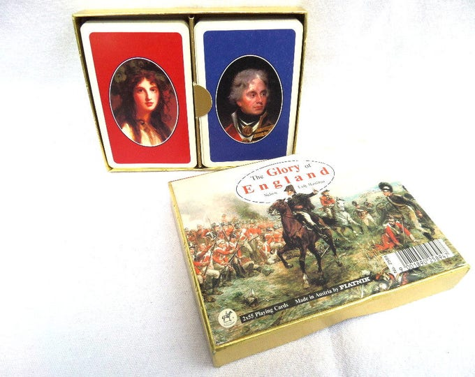 Playing Cards, Piatnik Austria, FREE SHIPPING, The Glory of England, Lord Nelson, Lady Hamilton, 2 x 55 Sets, Golden Foil Box, 1970's