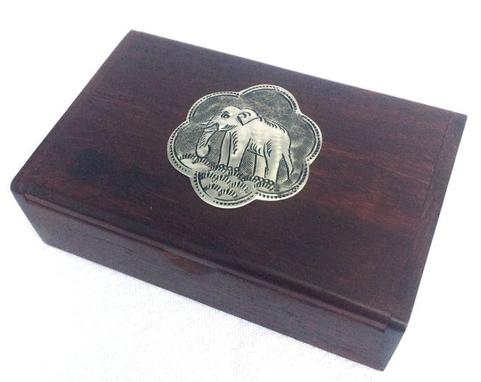 """Wooden Box, Elephant on Lid, Small Wooden Keepsake Box, Wooden Trinket Pot, The Cutest Thing! 4"""" x 2.5"""" x 1.25"""", Immaculate Condition"""