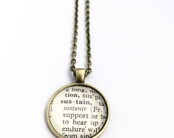 SUSTAIN Vintage Dictionary Word Pendant