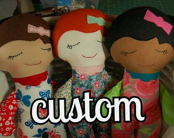 Custom Order Darling Dolls // stuffed doll // baby doll // doll accessories // cloth dolls // custom gifts // flower girl gift