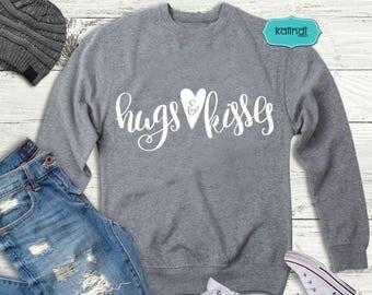 Hugs and kisses svg, valentine svg, hand lettering svg, funny valentine svg, love svg, heart svg, heart dxf    l64