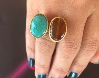Gemstone ring, Agate ring, Double stone ring, Adjustable ring, Green ring, Brown ring