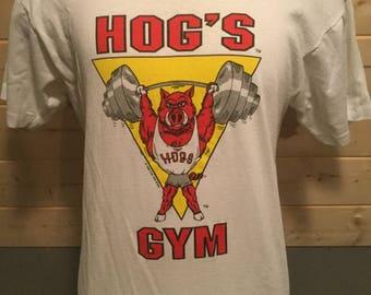 Vintage 1989 Arkansas Razorbacks Hogs  Football 50/50  T-Shirt Thin and Soft Made in USA