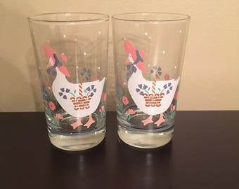 2 Vintage 1987 Country Duck kitchen Drinking Glasses EXCELLENT Condition