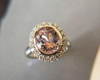 2.5 Carat Morganite Engagement Ring Pink Stone Engagement Ring Pink Stone Ring