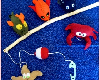 Children's Fishing Game, Fishing Pole With Bobber and Hook, Five Soft Felt/Fleece Water Creatures, Handcrafted Toys, Birthday Gift, Fish Toy