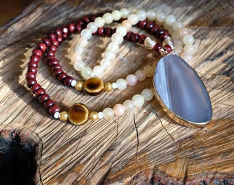 Natural Agate Mala Necklace