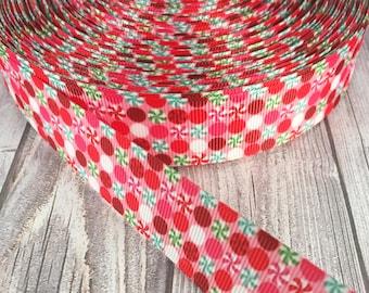 """Christmas ribbon - Polka dot ribbon - 1"""" Grosgrain ribbon - Christmas mints - Peppermint ribbon - Red green - Pink ribbon - Holiday ribbon"""