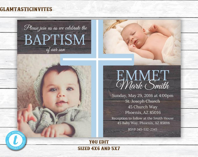 Baptism Invitation, Template, Baptism Invitation Printable, Boy Baptism Invitation, Printable Baptism Invitation, Invite Boy, You Edit, DIY