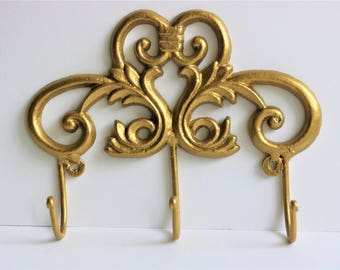 Cast Iron Hook/Cast Iron Wall Hooks/Decorative Wall Hook/Wall Decor Hook/Golden Wall Hook/Key Holder/Antique Style