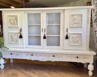 Sold Sold French Provincial Shabby Chic Carved Antique Oak Sideboard storage Annie Sloan Chalk Paint Old White