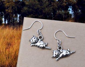 Cat Earrings, Kitty Earrings, Cat Jewelry, Crazy Cat Lady, Kitten Jewelry, Pet Earrings, Cat Lover Gift, Playing Cat