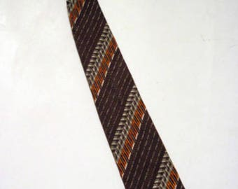 Vintage 1950s Gold Seal by Jaymore Diagonal Stripe Weave Slim Neck-Tie