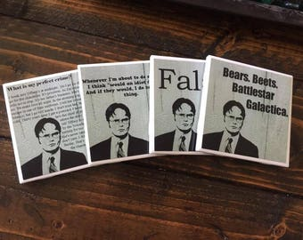 The Office Coasters | Dwight Schrute - Set of 4 - Comedy Coasters - Favorite TV Show - Best Quotes - Living Room Decor - Drink Coasters