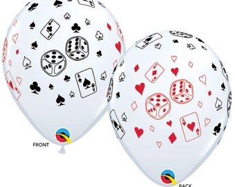 "Casino latex balloons 11"". Poker balloon. Playing card balloon. casino party balloons. poker party decor. gambling balloons. gambling party"