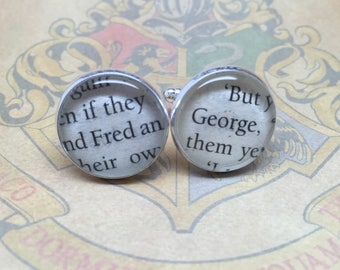 Fred and George - Re-cycled Harry Potter book glass cufflinks.