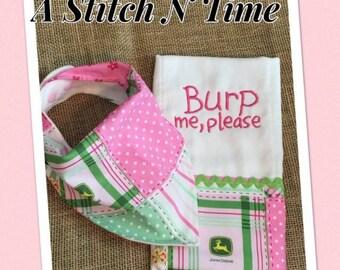 John Deere bib, John Deere burp cloth, bandanna  bib, burp cloth, baby bib